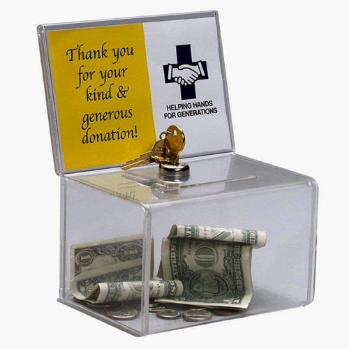 Locked Charity Boxes|Acrylic Donation Container|Suggestion Box