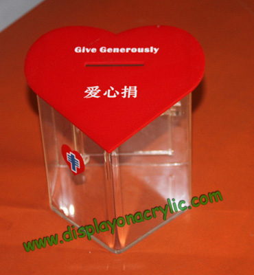 red heart acrylic donaton boxes