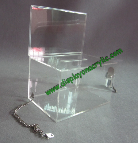 acrylic donatio box with chain