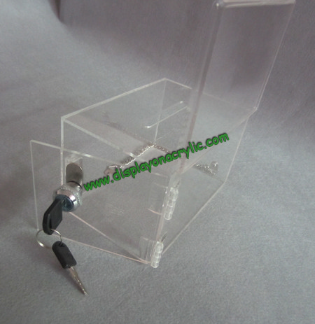 acrylic donatio box with chain(2)